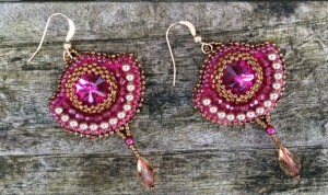 Oorbellen Fuchsia Diamonds