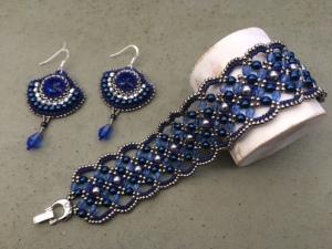 Maroon + Oorbellen Royal Blue Diamonds