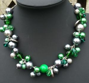 Parelketting groen-zilver