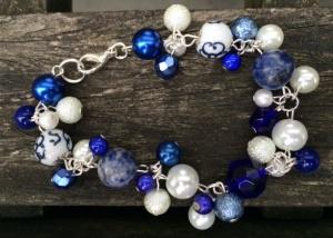 Parelarmband Delfts blauw