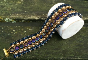 Armband Honeycomb Blue & Bronze